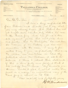 Letter from G. W. Andrews to W. E. B. Du Bois
