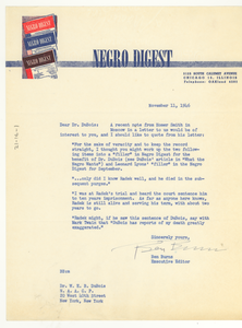 Letter from Negro Digest to W. E. B. Du Bois