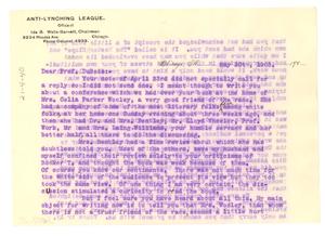 Letter from Ida B. Wells-Barnett to W. E. B. Du Bois