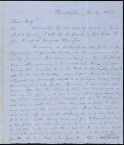 Letter from William Lloyd Garrison, Philadelphia, [Penn.], to Helen Eliza Garrison, Oct. 19, 1854