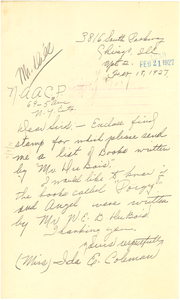 Letter from Ida E. Coleman to National Association for the Advancement of Colored People