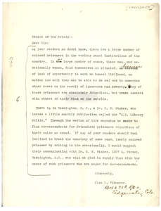 Letter from Elsa L. Widmayer to the editor of The Crisis