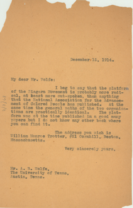 Letter from W. E. B. Du Bois to A. B. Wolfe