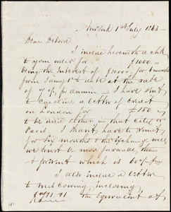 Letter from Richard Warren Weston, New York, to Deborah Weston, 1st July 1863