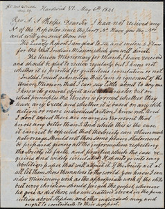 Letter from Kiah Bayley, Hardwick, Vt., to Amos Augustus Phelps, May 6th 1846