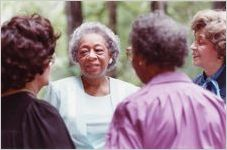Narvie J. Harris (second from left), with other African American school administrators, Susie Wheeler, Maenelle Dempsey, and Miley Mae Hemphill (in profile), at Dr. Hemphill's house, Atlanta, Georgia, April 28, 1990.