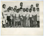 Harlem day camp group with Roy Campanella and Jackie Robinson