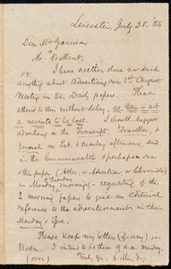 Letter from Samuel May, Jr., Leicester, to William Lloyd Garrison and Robert Folger Wallcut, July 28, [18]54