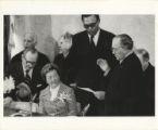 Richard J. Daley swearing in Joseph Bertrand as Treasurer of the City of Chicago