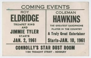 Advertisement for Roy Eldridge and Coleman Hawkins at Connolly's Star Dust Room