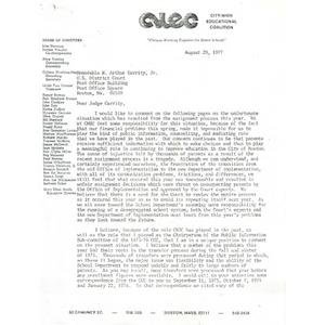 Letter, Judge Garrity, August 29, 1977.