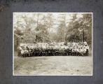 "Large group of men with pennants, ""Union, Allen, State, Hampton, Morris-Brown, Clark, Benedict, Biddle, ABC, SNS, HNI, VN&II"" etc."