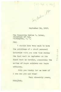 Letter from W.E.B. Du Bois to Secretary of War