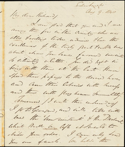 Letter from George Thompson, Edinburgh, [Scotland], to Richard Davis Webb, 1840 Aug[ust] 9