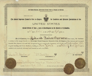 33° certificate issued by the United Supreme Council to Richard Theodore Greener, 1896 September 8