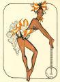 Costume design drawing, showgirl with a banjo, Las Vegas, June 5, 1980