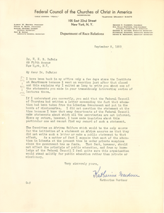 Letter from Federal Council of the Churches of Christ in America, Department of Race Relations to W. E. B. Du Bois