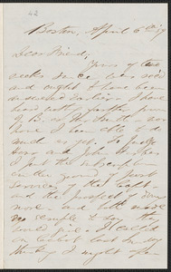 F. B. Sanborn autograph letter signed to [Thomas Wentworth Higginson], Boston, 6 April [18]59