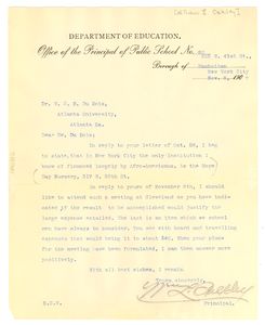 Letter from William L Oakley to W. E. B. Du Bois