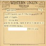 Telegram to Mayor John F. Collins