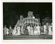"""1952 Muny production of """"Show Boat"""": cast in front of prow of steamboat"""