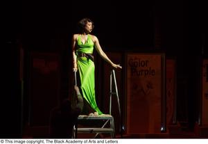 Performer in green dress Hip Hop Broadway: The Musical