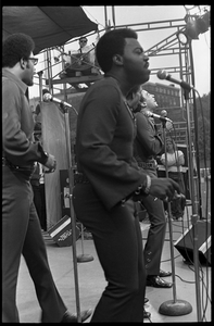 Smokey Robinson on stage with the Miracles at their final Boston appearance as a group: L. to r.: Bobby Rogers, Warren 'Pete' Moore, Ronnie White (obscured), Smokey Robinson