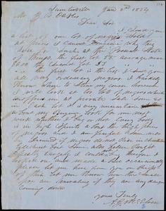 A. J. McElveen, Sumterville, S.C., autograph letter signed to Ziba B. Oakes, 2 January 1854