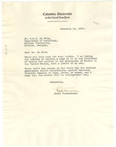 Letter from Frank Tannenbaum to W. E. B. Du Bois