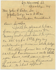 Letter from Garrett Lawson Taylor to Jephtha Lodge, No. 11, about 1918