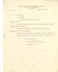 Letter from Northwestern University Medical School to W. E. B. Du Bois