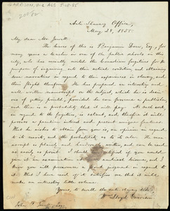 Letter from William Lloyd Garrison, Anti-Slavery Office, [Boston, Mass.], to John Punchard Jewett, May 28, 1855