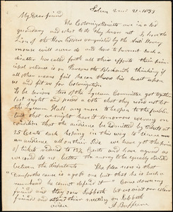 Letter from Arnold Buffum, Salem, [Massachusetts], to William Lloyd Garrison, 1833 [February] 21