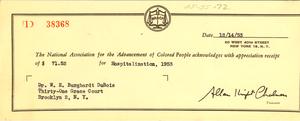 Receipt from NAACP to W. E. B. Du Bois