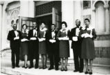 Bethany Baptist Church, Ushers on steps of the Irving Avenue location. Oliver Robinson, Henrietta Hinds, Eric Simmons, Jonnie Eudell, John Rowe, Odessa Mayes Adams, Monroe Hickson, Siola Decure.