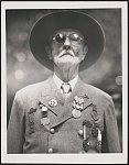 [Civil War veteran Robert Powell Scott of Co. C, Arkansas Cavalry Regiment with medals, including Gettysburg 75th Reunion Veterans badge]