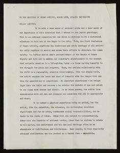 Addresses to the Annual Conference of Negro Artists