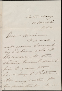 Letter from Deborah Weston, [Boston, Mass.], to Maria Weston Chapman, Saturday, 10 March 1860