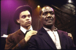 """Actors (L-R) Duane Boutte & Delroy Lindo in a scene fr. the Playwrights Horizons' production of the play """"The Heliotrope Bouquet By Scott Joplin & Lous Chauvin."""" (New York)"""