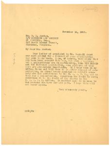 Letter from W. E. B. Du Bois to B. L. Jordan