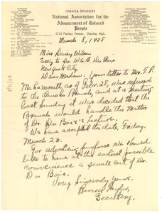 Letter from NAACP, Omaha Branch to Daisy Wilson
