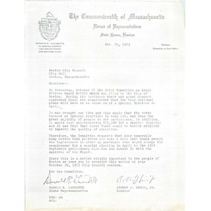Letter, Boston City Council, October 25, 1973.