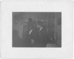[Snapshot of two men, possibly attending Huddie Ledbetter's wedding at John Lomax's home in Wilton, CT, 1935]