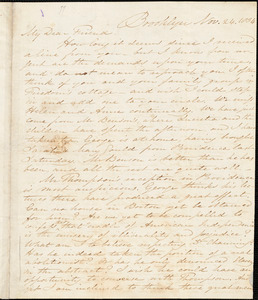 Letter from Samuel Joseph May, Brooklyn, [Connecticut], to William Lloyd Garrison, 1834 Nov[ember] 24