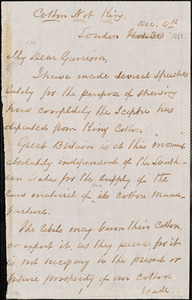 Letter from George Thompson, London, [England], to William Lloyd Garrison, [1863] Dec[ember] 4th