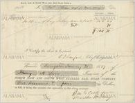Receipt for hire of slave, North East and South West Railroad Company, Alabama, for work by Ben G. Cook, January 31, 1857
