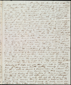Letter from Mary Weston, [Weymouth, Mass.], to Deborah Weston, Monday 28 Jan. [1839], 3 o'clock p.m