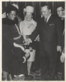 Richard J. Daley greets Attorney Lucia Theodosia Thomas and a young girl