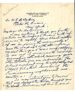 Letter from Charles W. Chesnutt to W. E. B. Du Bois
