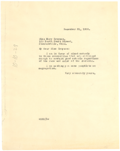 Letter from W. E. B. Du Bois to Mary Grayson